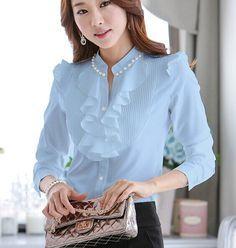 Venda quente 2015 Primavera Outono Mulheres Blusas Manga Comprida Magro Ruffles Chiffon Top Women Shirts Beading chiffon tops 682D 20