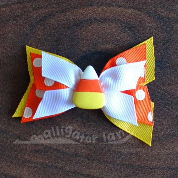 Candy Corn Bow Halloween Hair Bow for Baby or by alligatorlane, $4.00