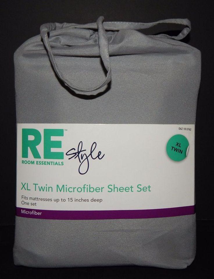 New RE Room Essentials TWIN Microfiber SHEET SET Grey #RERoomEssentials #Transitional