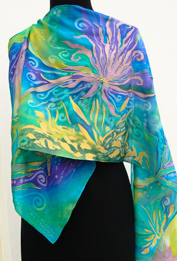 Hand painted silk scarf blue azure violet lime pink gold by Irisit