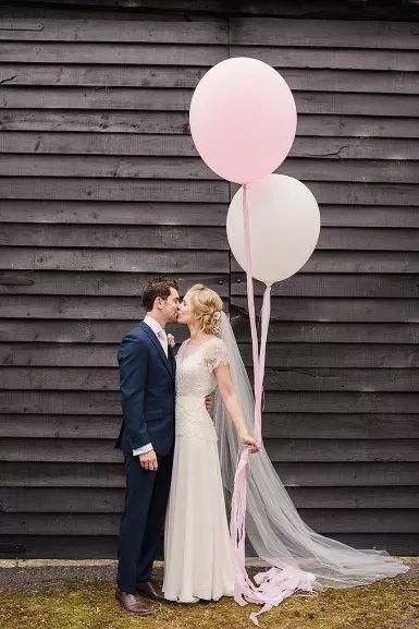 Faye Cornhill Photography - Fine Art Film and Digital Wedding and Portrait Photographer - Buckinghamshire, London, UK and Destination Weddings. Rustic Barn Wedding. Jenny Packham Dress @thejennypackham Wedding Balloons.