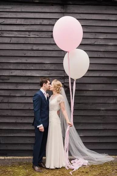 Faye Cornhill Photography - Fine Art Film and Digital Wedding and Portrait Photographer - Buckinghamshire, London, UK and Destination Weddings. Rustic Barn Wedding. Jenny Packham Dress @thejennypackham Wedding Balloons.