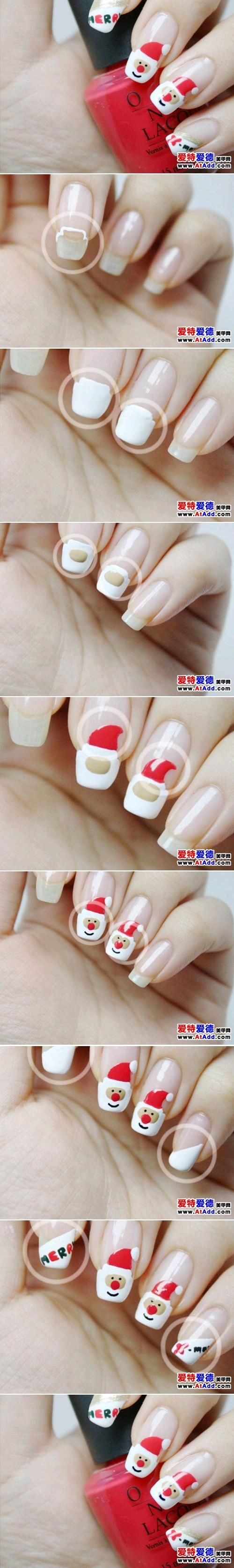 15 Amazing And Useful Nails Tutorials, DIY Santa Claus Nail Design