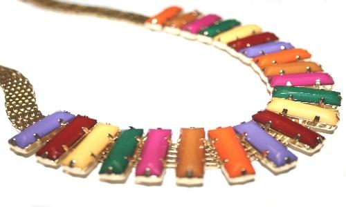Colored square necklace
