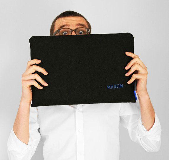 FELT LAPTOP SLEEVE 06 macbook cover blue zipper by PurolDesignBags