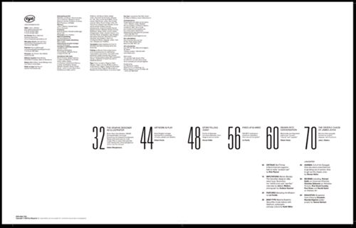 typographic table of contents sample