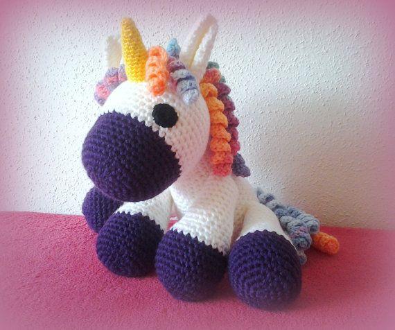 Crochet Unicorn XXL purple by CrochetlandRV on Etsy
