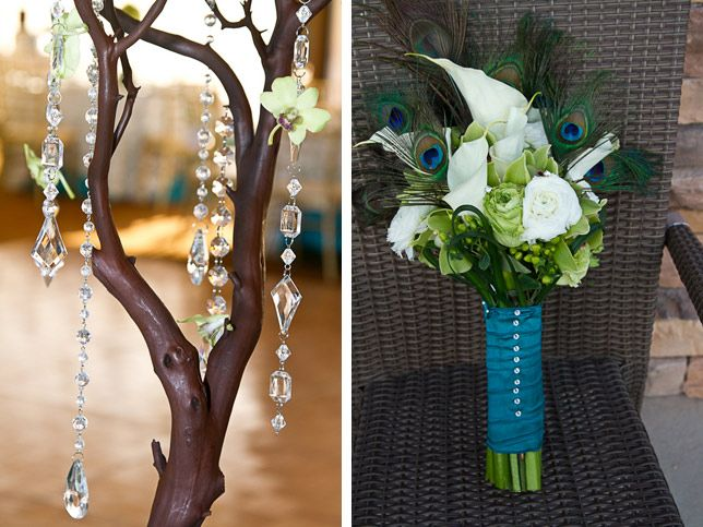 tabletop tree with dangling crystal strands wedding  rustic wedding centerpiece ideas pinterest