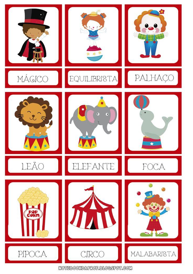 Notebook da Profª: Jogo da Memória e Cartões de Pareamento Dia do Circo
