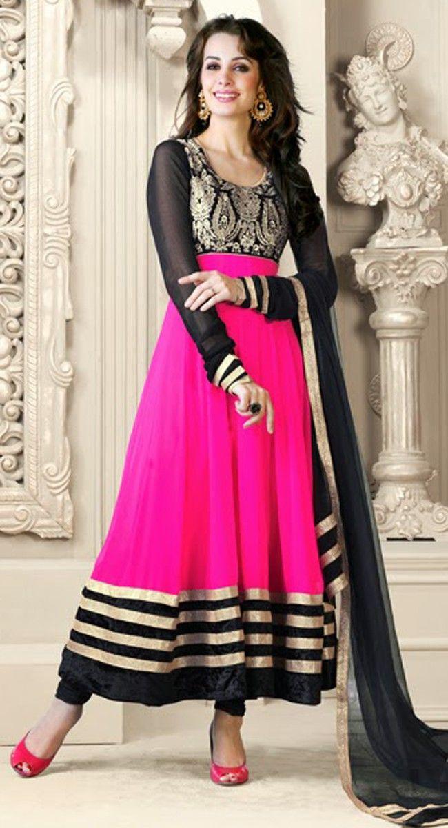 Black & Deep Pink Salwar Kameez