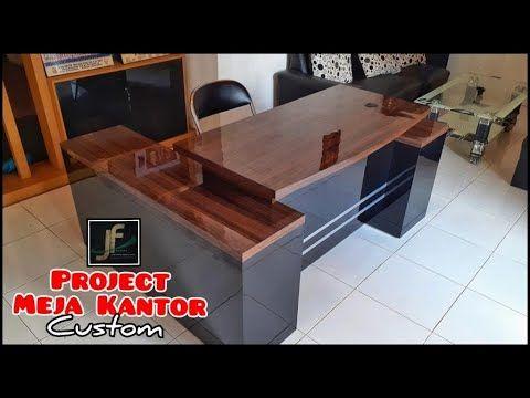 membuat meja kantor - desain custom leter l mewah dan