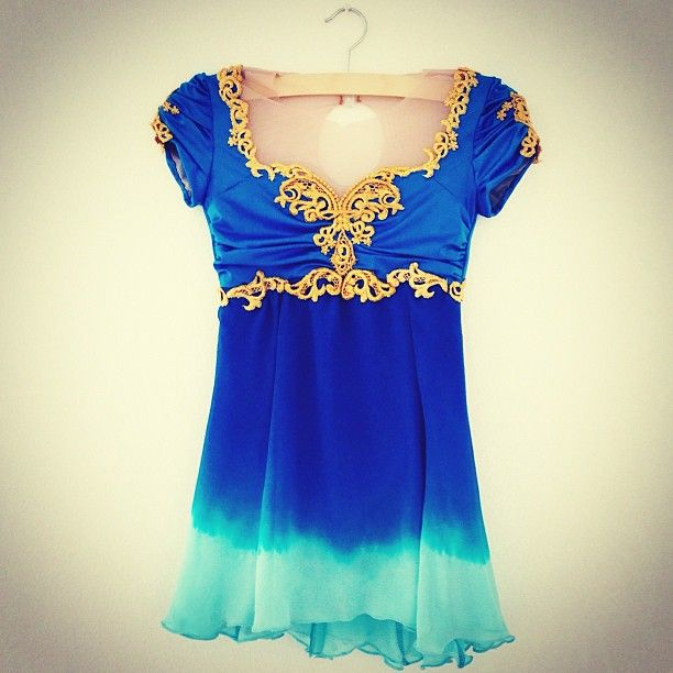 Blue opera custom figure skating dress