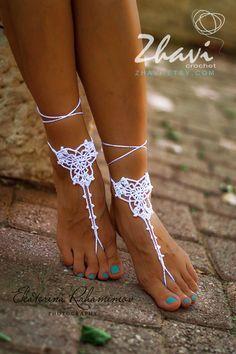 Weiß häkeln barfuss Sandalen Nude Schuhe Fußschmuck