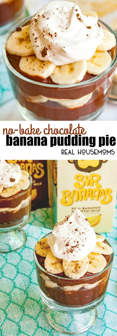 This No-Bake Chocolate Banana Pudding Pie is an easy dessert recipe that combines classic banana pudding with amazing chocolate flavor! via @realhousemoms