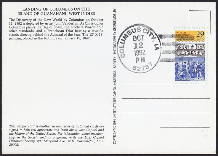 Special Columbus Day cancellation 12 Oct 1992 of Columbus City (Louisa  County) IA (