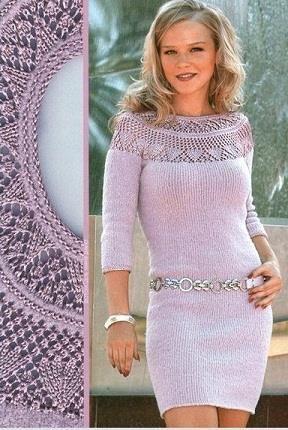 Платье вязаное спицами со схемами