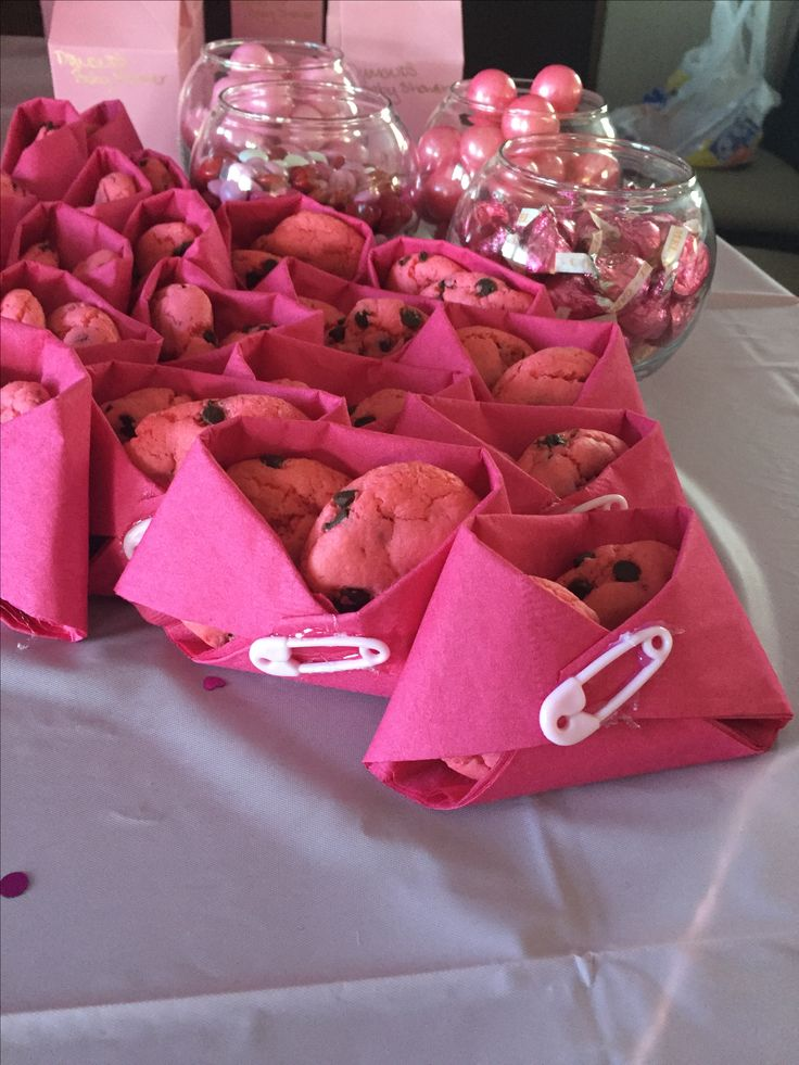 Pink diaper pink cookies for girl baby shower pink themed ideas