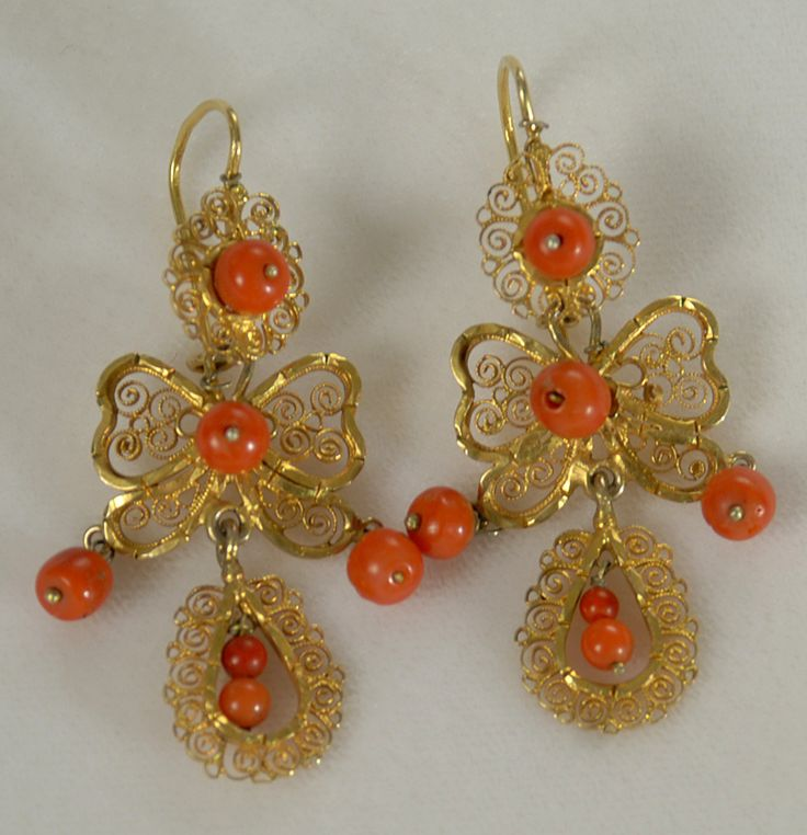 Antique Mexican Gold And C Earrings Colonial Arts