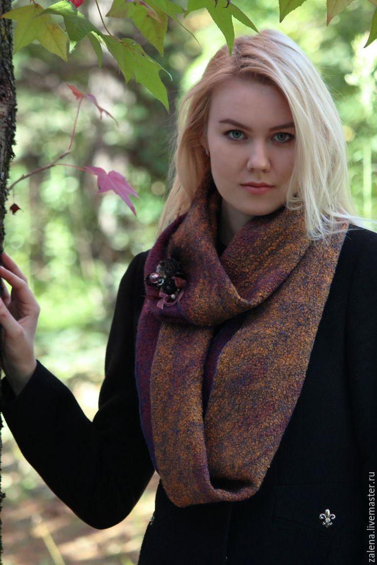 """Купить Валяный снуд """"Сладкий Ноябрь"""" - разноцветный, абстрактный, теплая осень, ноябрь, снуд"""