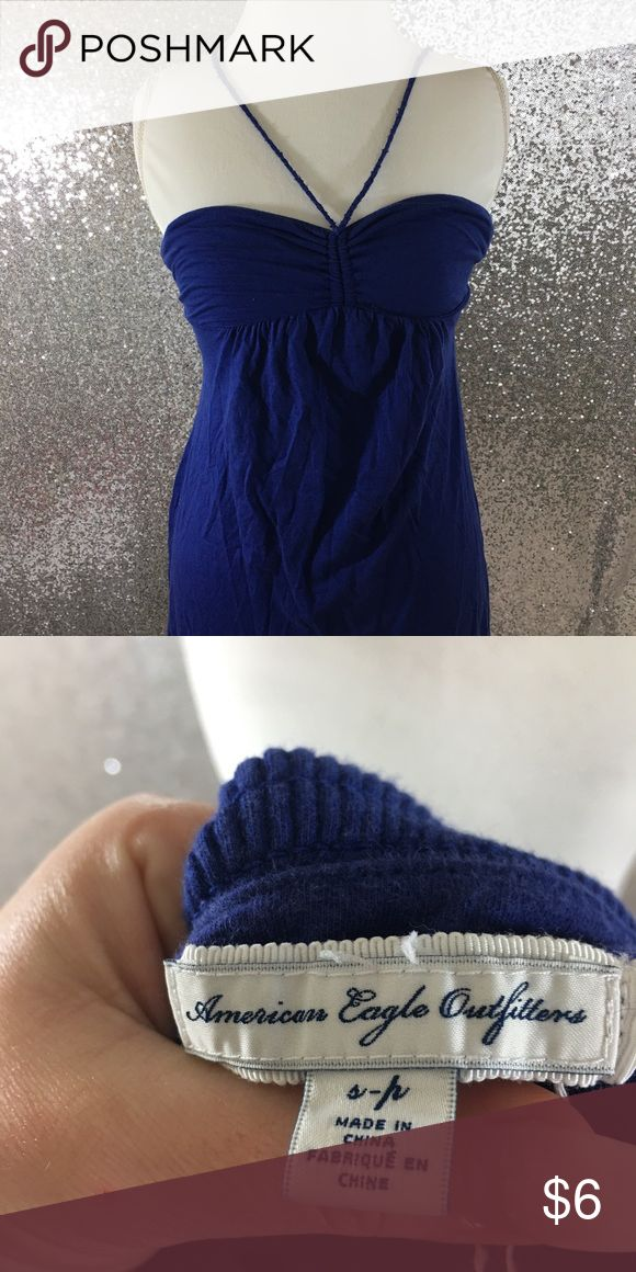 Halter Sundress This has a built in shelf bra, and can be worn strapped Sid you tie the straps in a bow. Very soft and gorgeous blue color! :) American Eagle Outfitters Dresses Midi