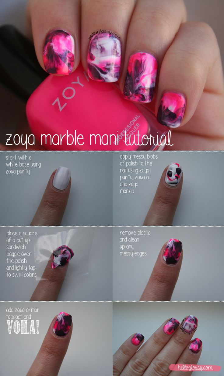 Nail Art | Zoya Marble Mani - shown using a Zoya Nail Polish in Ali, Monica, and Purity