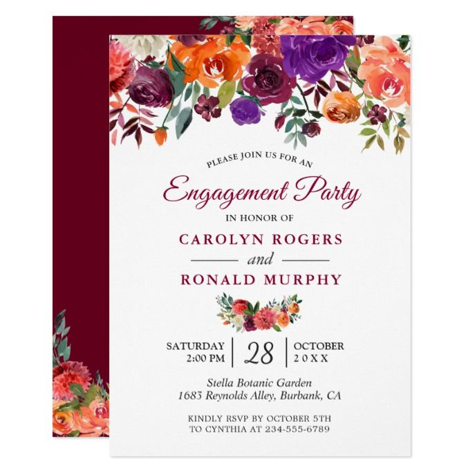 Burgundy Purple Orange Fl Engagement Party Invitation