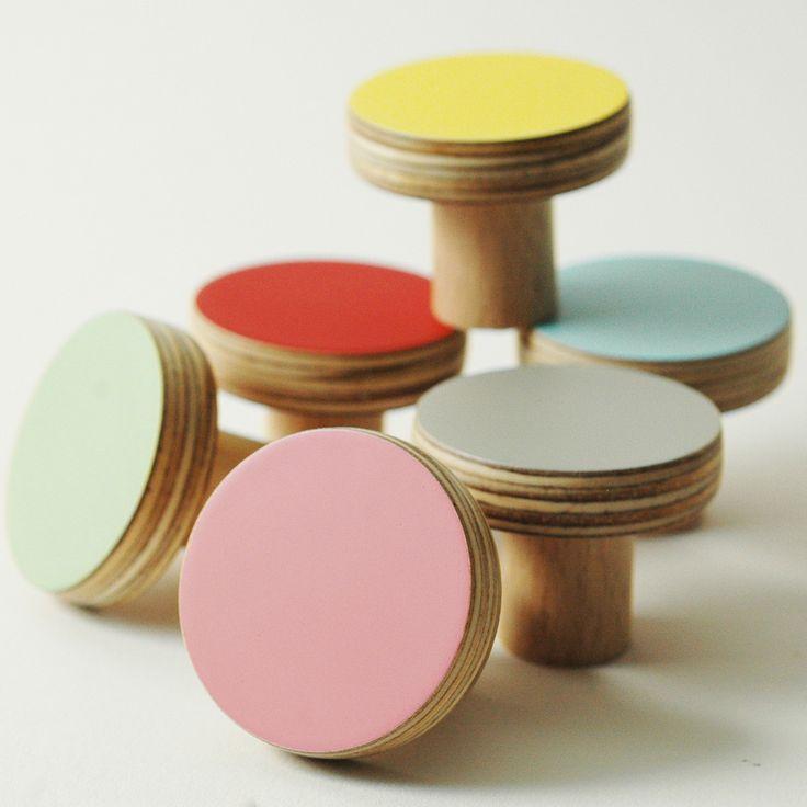 Door Coloured Wooden Knobs