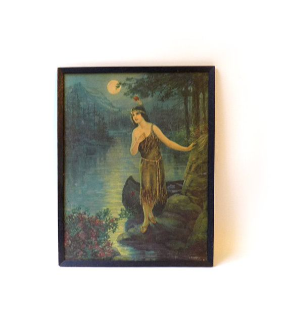 Antique 1920s framed lithograph print of Indian maiden by evaelena