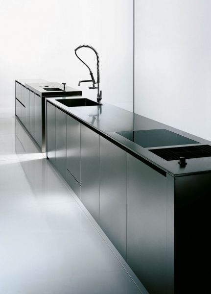 Case system 5.0 Inox, minimalist kitchen by Boffi _