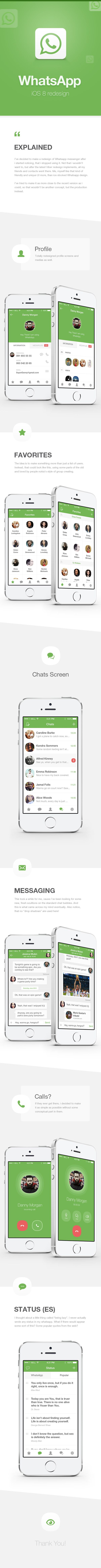 WhatsApp Redesign for iOS 8 (2014)
