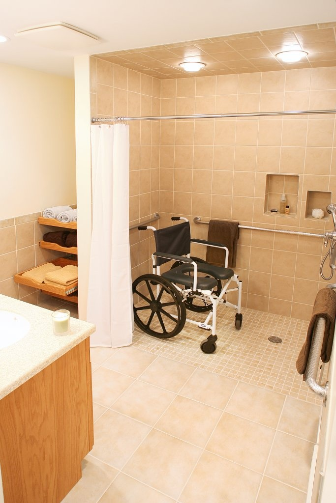 large bathroom design with family in mind! handicap accessible bathroom with lots of space.