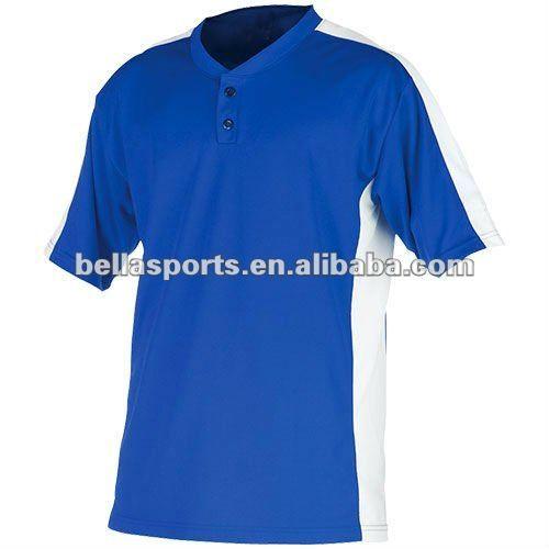 Customized mesh fabric cheap Two button Blank Baseball jersey with contrast SLEEVE baseball jersey/uniform