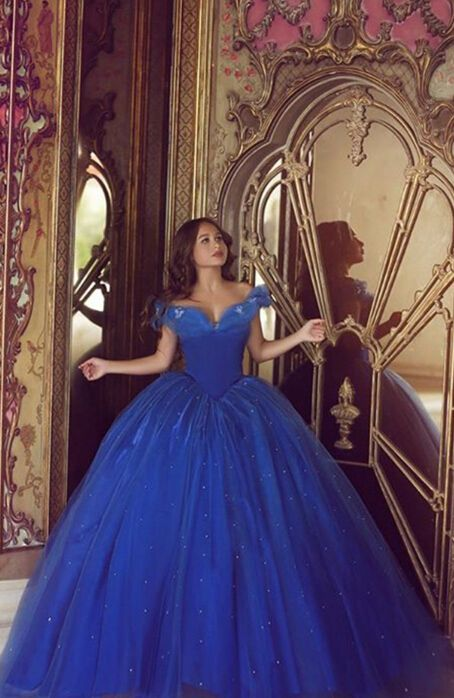 Cinderella prom party dresses 2016 royal blue, elegant prom party dresses, Ball Gown Prom Dresses, 2016 prom party dresses, coming-of-age ceremony dresses