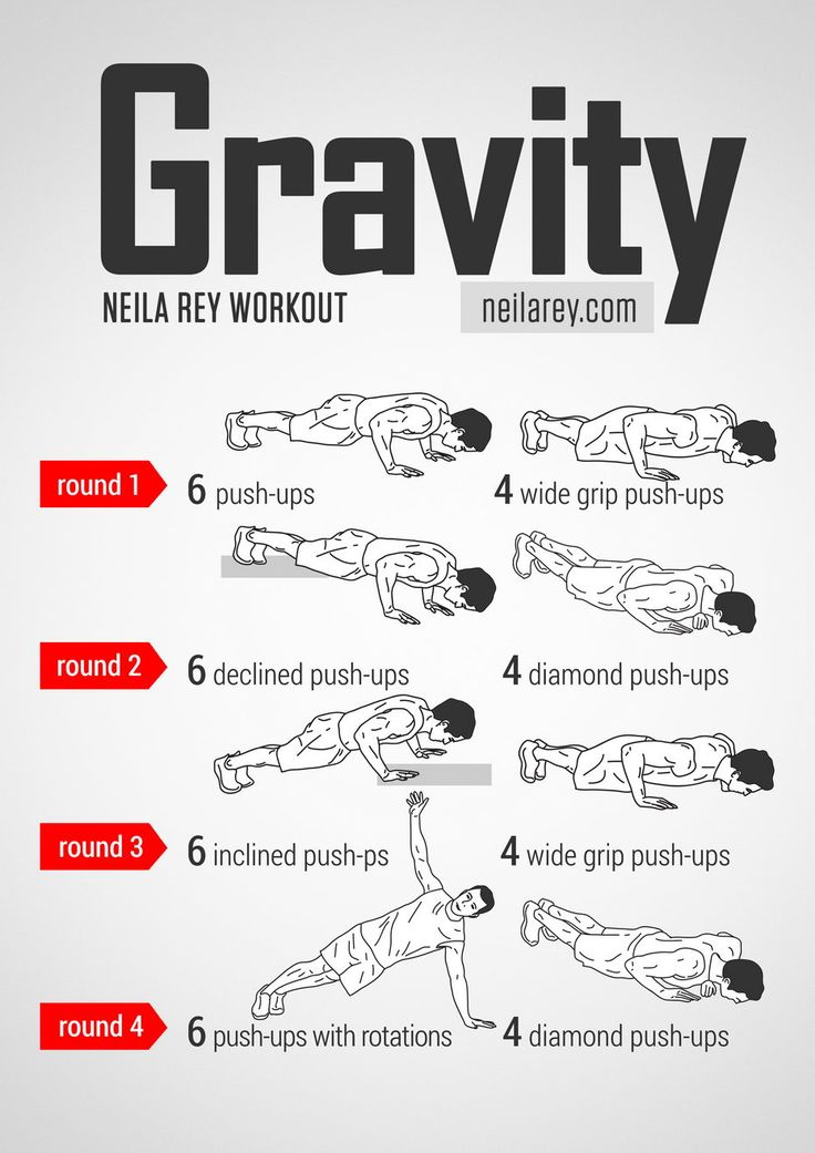 Gravity Strength Workout / Works: Chest, abs, lateral abs, triceps, biceps, shoulders, deltoids.