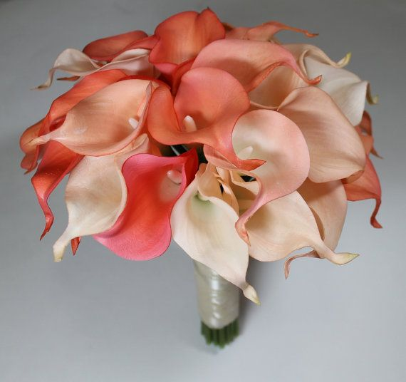 Coral Wedding Bouquet Coral Calla Lilly Bouquet by MGFloralDesign