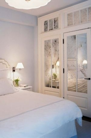 Mirrored closet doors or bathroom door- really open up a space and add elegance