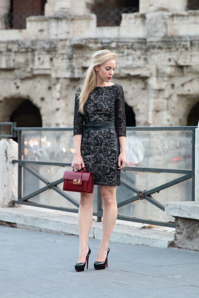Lace & Louis Vuitton: black lace dress with leather wrap ...