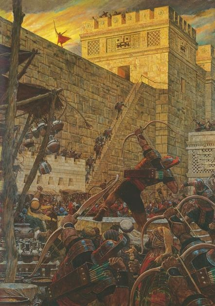 Samuel the Lamanite Prophesies from the City Walls - Arnold Friberg