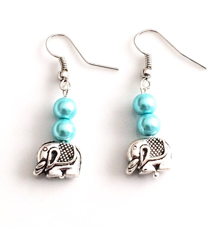 Blue Pearl Elephant Earrings by AnisasClayCreations on Etsy https://www.etsy.com/ca/listing/538810883/blue-pearl-elephant-earrings