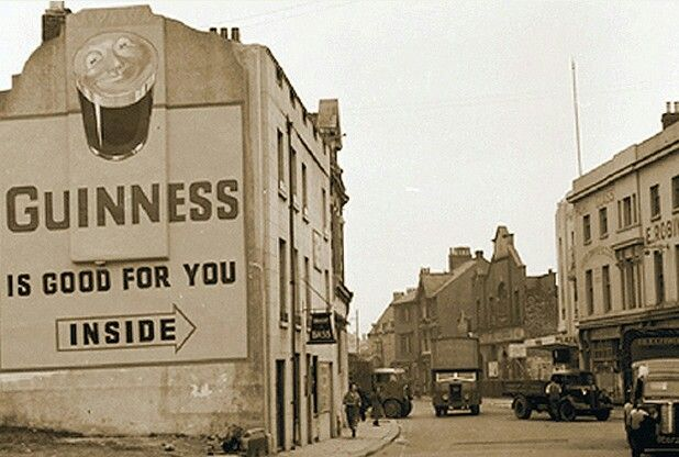 The Guinness advert sat on the side of a building in Treville Street Plymouth