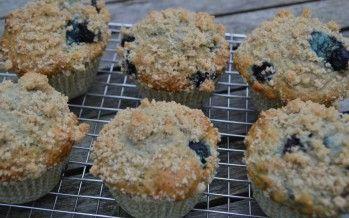 Muffin met bosbes en banaan