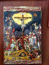 The Crucifixion of Jesus - handmade Greek orthodox Russian byzantine icon