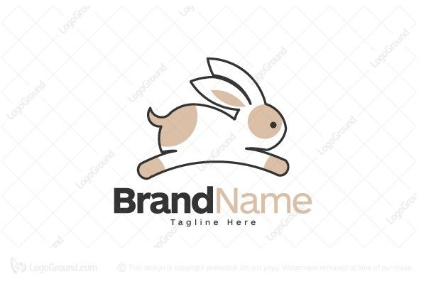 Logo for sale: Cute Running Bunny Logo