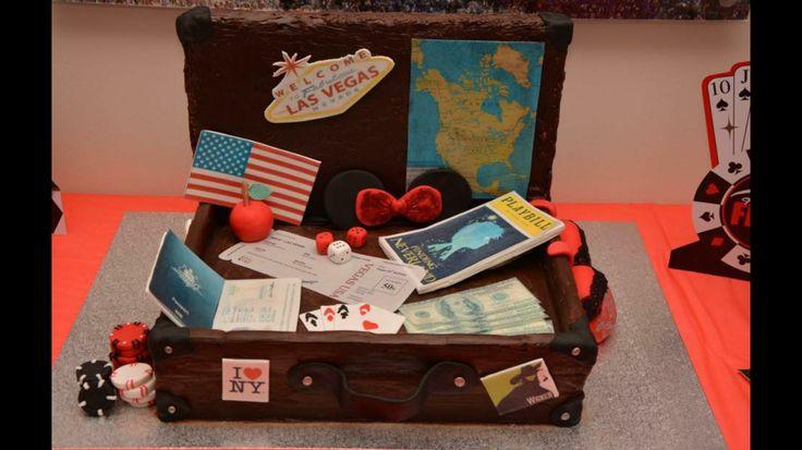 Vegas themed suitcase cake