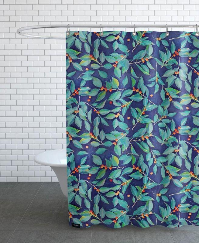 leaves berries on blue en rideau de douche par micklyn le feuvre juniqe 55 - Rideau De Douche Color