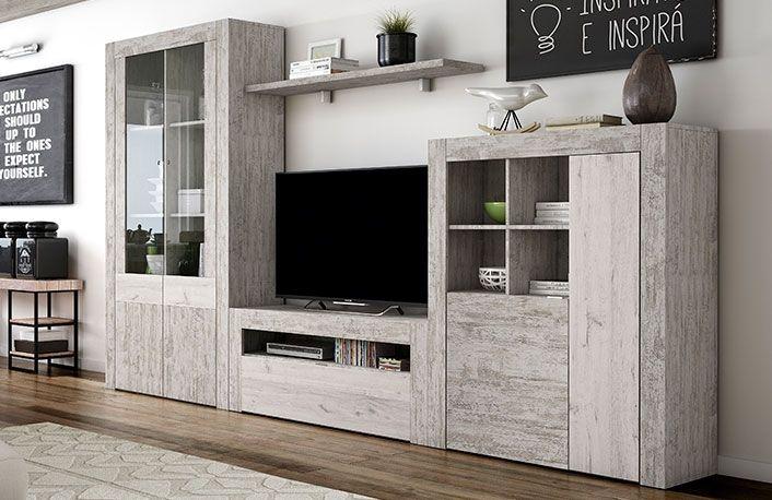 Compra ya este mueble de salón modular efecto vintage al mejor precio de internet. Disfruta de grandes ofertas en la tienda de muebles online mueblesboom.com
