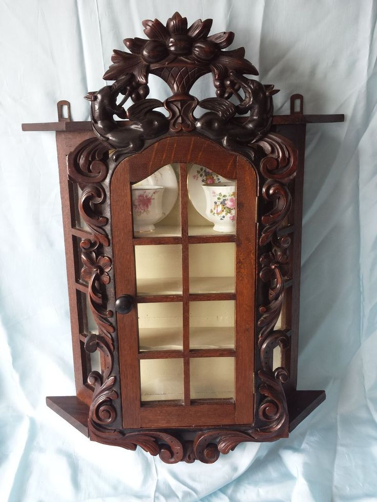 Antique French Black Forest relief carved oak cabinet display showcase vitrine