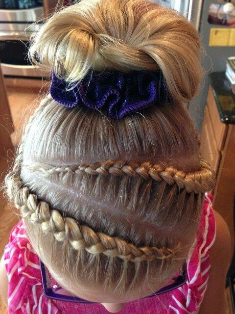 Gymnastics hair. Braids. Cute girls hair.