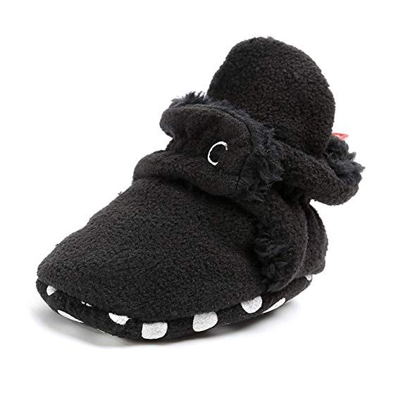 Baby Cozy Fleece Booties with Non Skid Bottom Infant Warm Winter Crib Shoes
