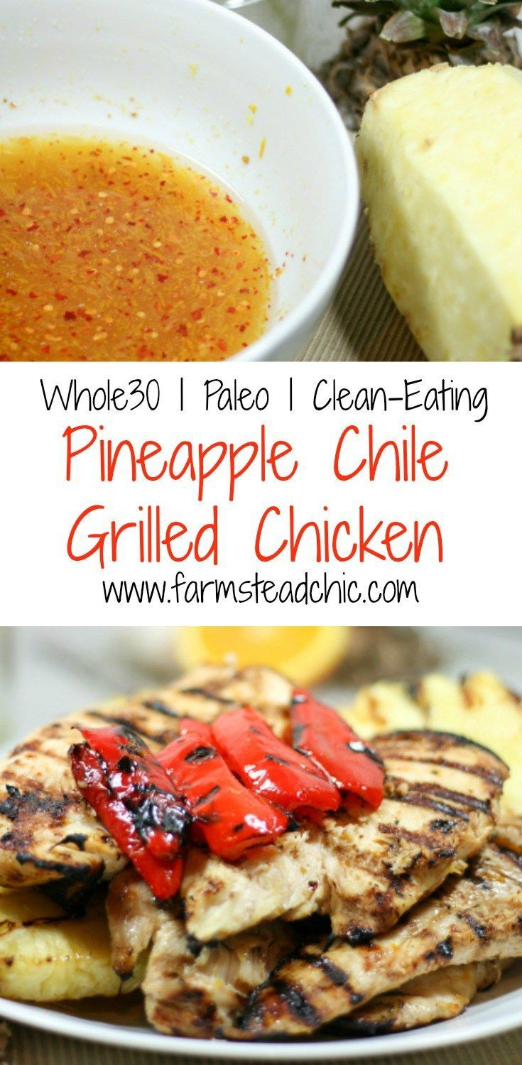 This Pineapple Chile Grilled Chicken Marinade is made with luscious tropical pineapple juice, tart fresh orange + fiery red chiles. Paleo + Whole30. cheap paleo breakfast